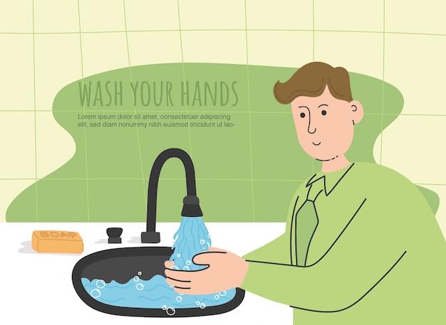 Waschen sie ihre hände, um sich vor infektionen zu schützen.
