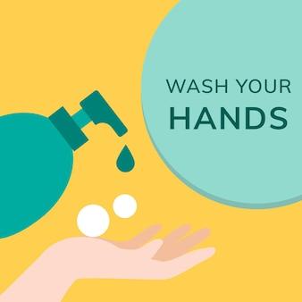 Waschen sie ihre hände, verhindern sie covid-19-social-media-post