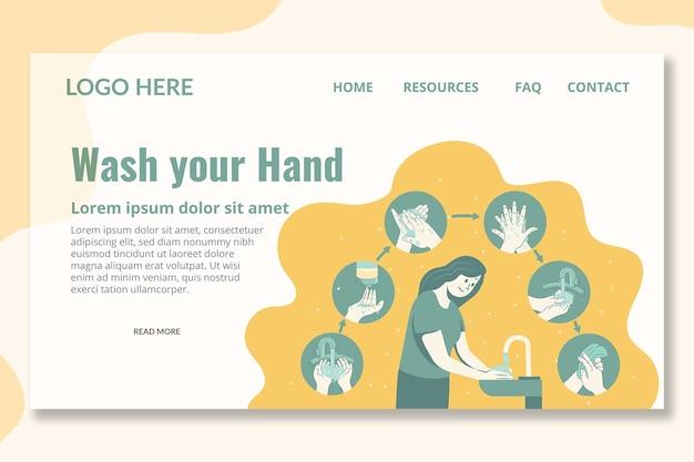 Waschen sie ihre hand landing page template