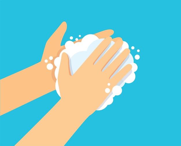 Waschende hand mit seifenvektorillustration eps10