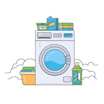 Waschküche mit funktionierender waschmaschine. dünne linie flache designvektorillustration