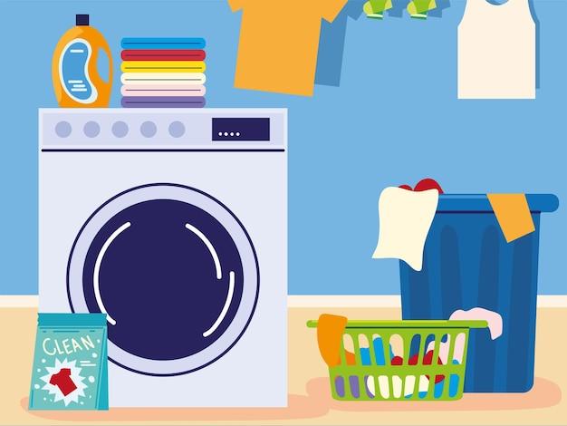 Waschküche mit kleidung