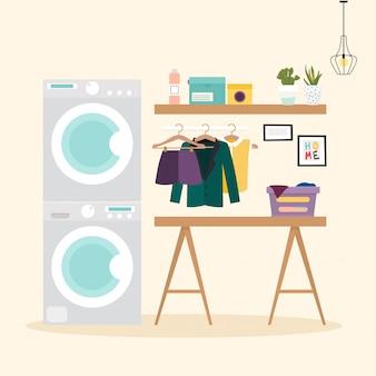 Waschküche mit waschgelegenheit. waschmaschine, flasche, waschpulver, kleidung flache designelemente, minimalistischer stil. vektorillustration.