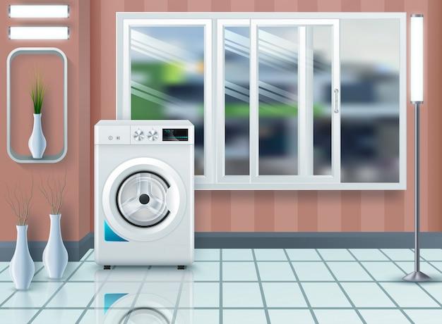 Waschküche mit waschmaschine und trockner