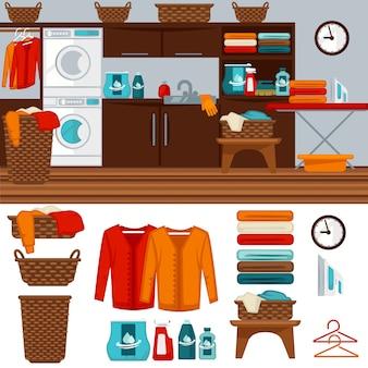 Waschküche mit waschmaschinenillustration.