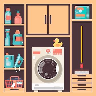Waschküche mit waschmaschinenkorb und haushaltschemikalie