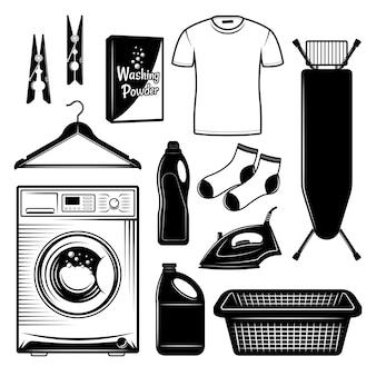 Waschküche und service-set von designelementen im schwarz-weiß-stil