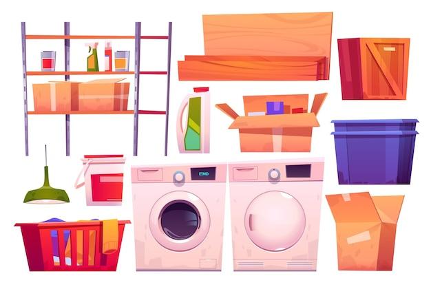 Waschküchenausstattung zum waschen und trocknen von kleidung cartoon-set