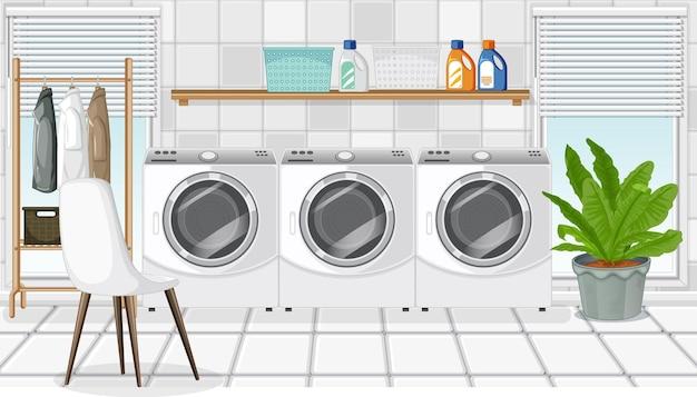 Waschküchenszene mit waschmaschine und kleiderbügel