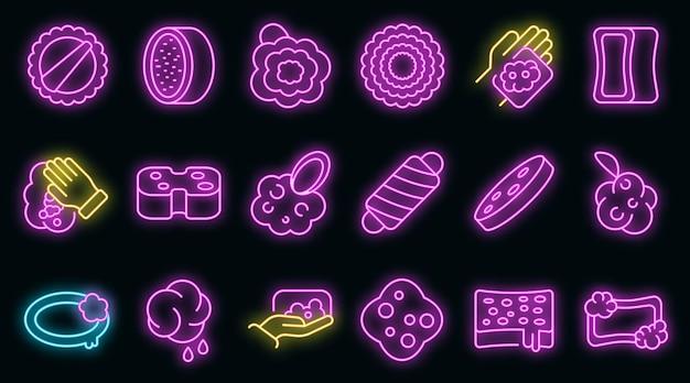 Waschlappen-symbole gesetzt. umrisse von waschlappen-vektorsymbolen neonfarbe auf schwarz