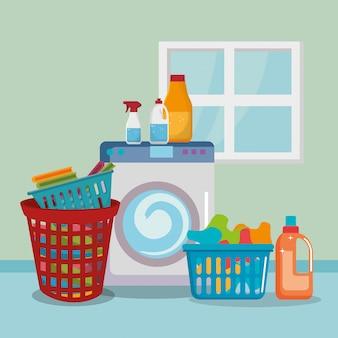 Waschmaschine mit wäscheservice icons