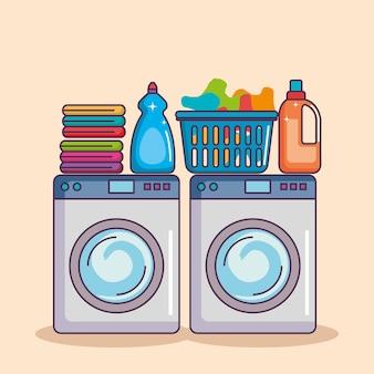 Waschmaschine mit waschpulver und sauberem korb