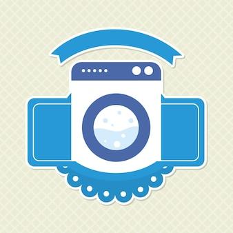 Waschmaschinenillustration mit dekorativem banner