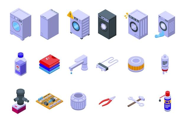 Waschmaschinenreparaturikonen stellten isometrischen vektor ein. defektes gerät