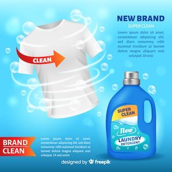 Waschmittelwerbung mit realistischem design