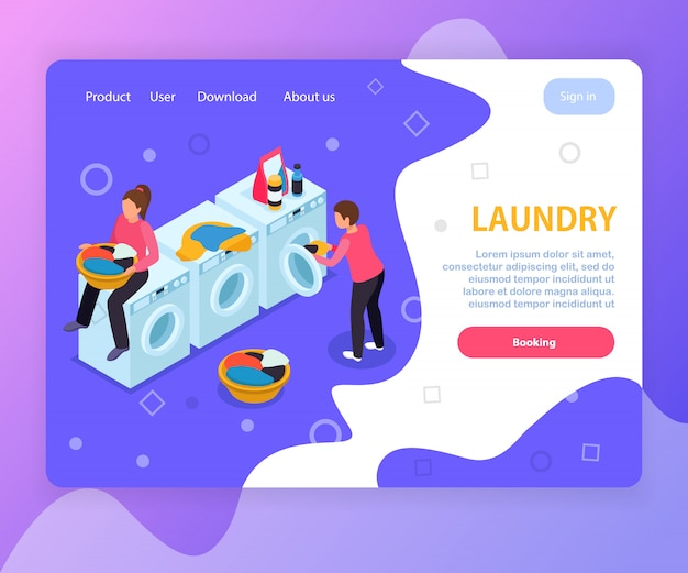Waschraum isometrische landingpage website-design mit waschmaschinen menschen bearbeitbaren text und anklickbaren links