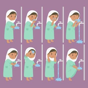 Waschung, wudhu schritte für kinder sammlung