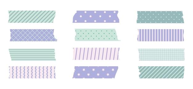 Washi masking tape set. süßer scotch-papieraufkleber für scrapbook. bandset im japanischen stil mit band, dekoratives punktelement.
