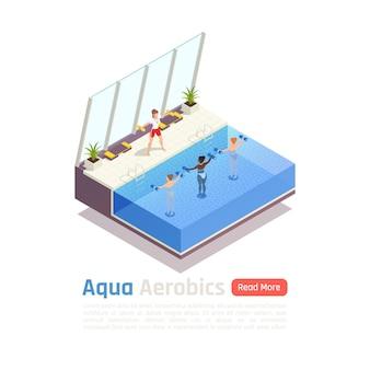 Wasser aqua aerobic gruppe fitness lektion isometrische zusammensetzung illustration