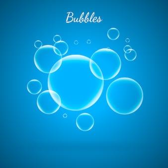 Wasser aqua blasen auf blauem hintergrund.