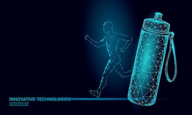 Wasser-aqua-flaschen-jogger-rehydrierungskonzept. gesundheitswesen gegen dehydration isotonische elektrolyte trinken. läufer sportler illustration.