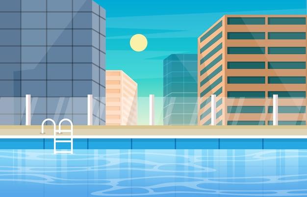 Wasser außenpool hotel city relax view illustration