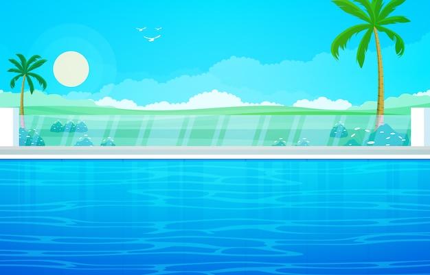 Wasser außenpool hotel natur relax view illustration