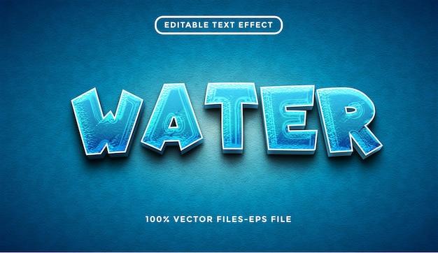 Wasser editierbare texteffekt-premium-vektoren