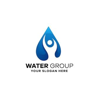 Wasser menschen farbverlauf logo vorlage