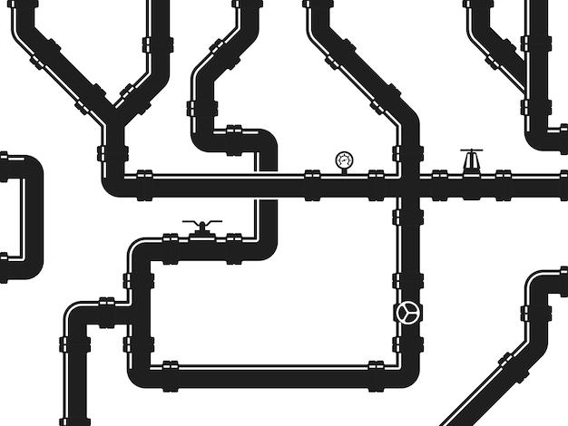 Wasser- oder gasleitung, installation mit ventilen und rohrverbindungsstücken. abstrakt industriell