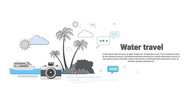 Wasser-reise-kreuzfahrt-tourismus-netz-fahnen-vektor-illustration
