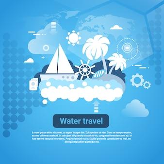 Wasser-reise-netz-fahne mit exemplarplatz auf blauem hintergrund
