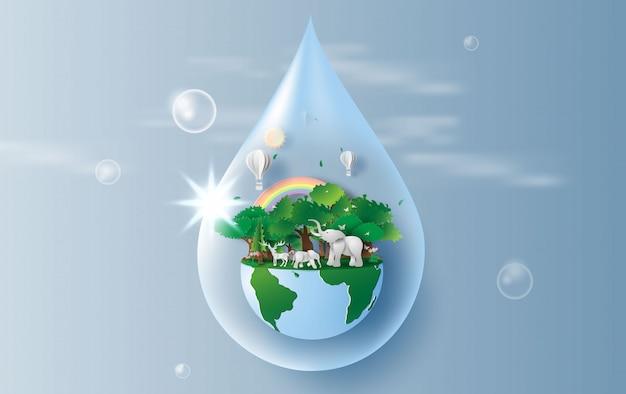 Wasser sparen konzept der weltumwelt