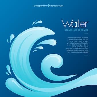 Wasser spritzt hintergrund in der flachen art