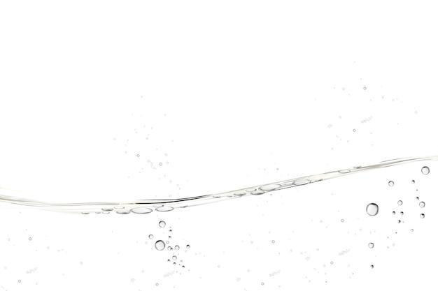 Wasser transparente oberfläche mit blasen auf weißem hintergrund