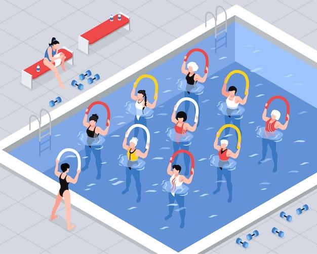 Wasseraerobic-klassenfrauengruppe während der übungen mit ausrüstung in der isometrischen illustration des pools