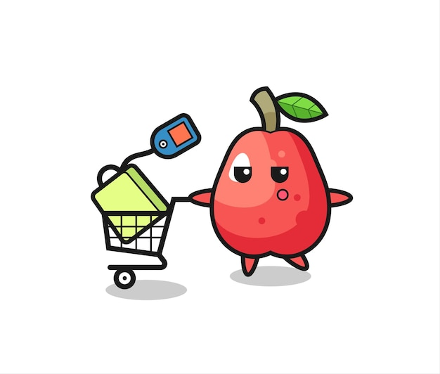 Wasserapfel-illustrationskarikatur mit einem einkaufswagen, niedlichem stildesign für t-shirt, aufkleber, logoelement