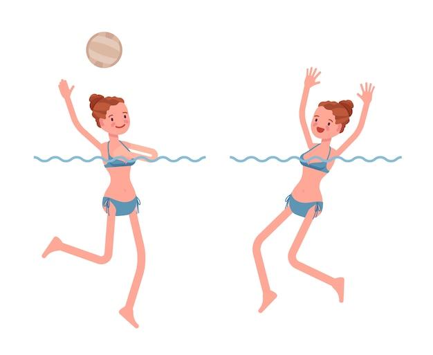 Wasserball junge frau, die satz spielt