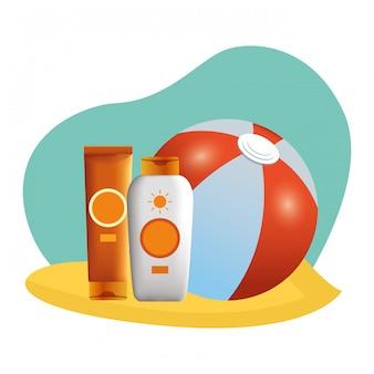Wasserball- und sonnenbräunerflaschen