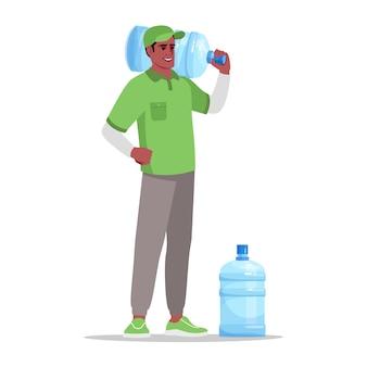 Wasserbüro lieferung halb flach rgb-farbvektorillustration. gallone gereinigte flüssigkeit für unternehmenskühler. lieferservice. männlicher afrikanischer kurier lokalisierte zeichentrickfilm-figur auf weißem hintergrund