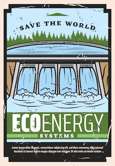 Wasserdamm des wasserkraftwerks, öko-energie