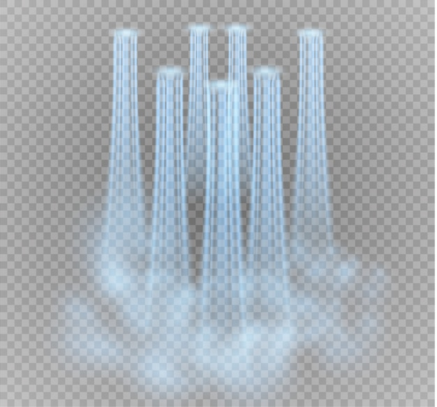Wasserfall, auf transparentem hintergrund. illustration. ein wasserstrahl.