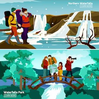 Wasserfall landschaften kompositionen