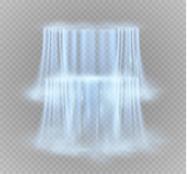 Wasserfall, lokalisiert auf transparentem hintergrund. ein wasserstrahl.