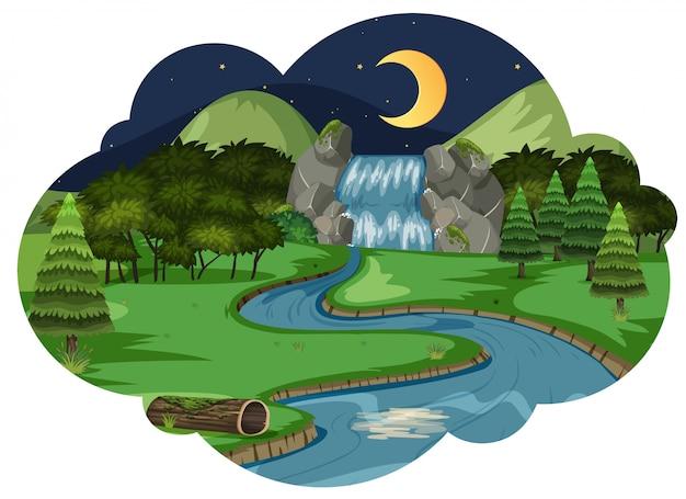 Wasserfall-nachtzeit-szene