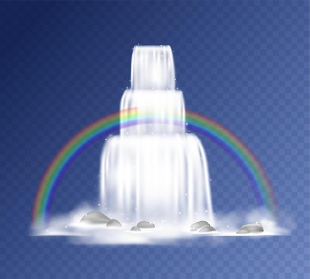 Wasserfall. realistisch fallendes wasser mit nebel, spritzern, bergfelsen und regenbogen