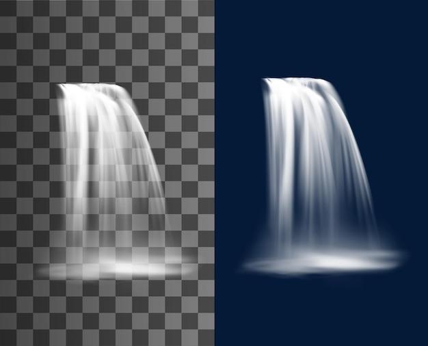 Wasserfallkaskade, realistischer wasserstrom mit nebel