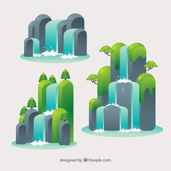 Wasserfallsammlung in der karikaturart