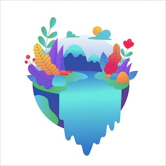 Wasserfallszene mit baum auf der felsenillustration