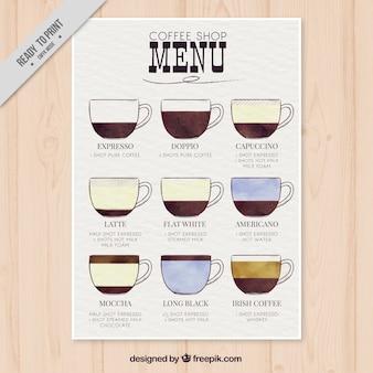 Wasserfarbe auf menü mit verschiedenen arten von kaffee